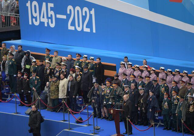 Prezydent Rosji W. Putin na defiladzie wojskowej z okazji 76. rocznicy Zwycięstwa w Wielkiej Wojnie Ojczyźnianej