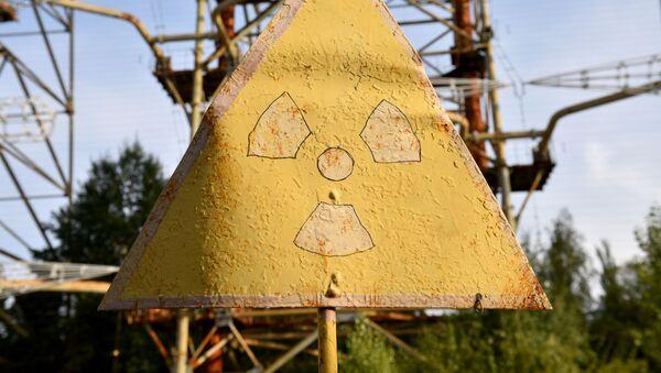 Znak promieniowania w Strefie Wykluczenia wokół Czarnobylskiej Elektrowni Jądrowej - Sputnik Polska