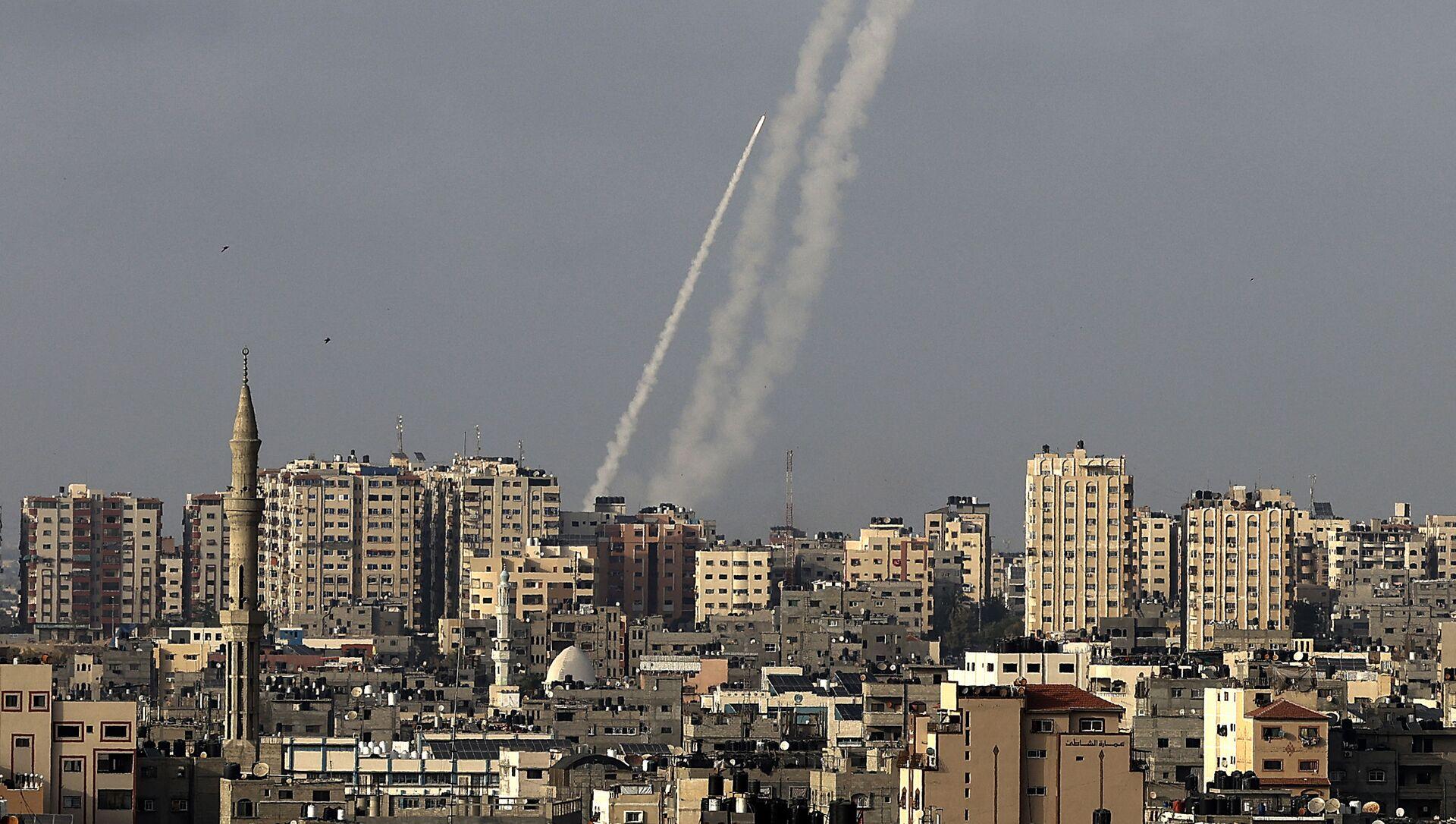 Rakiety wystrzelone z miasta Gaza w kierunku Izraela - Sputnik Polska, 1920, 10.05.2021