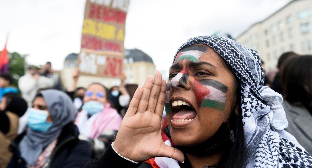 Demonstracja zwolenników Palestyny w Belgii
