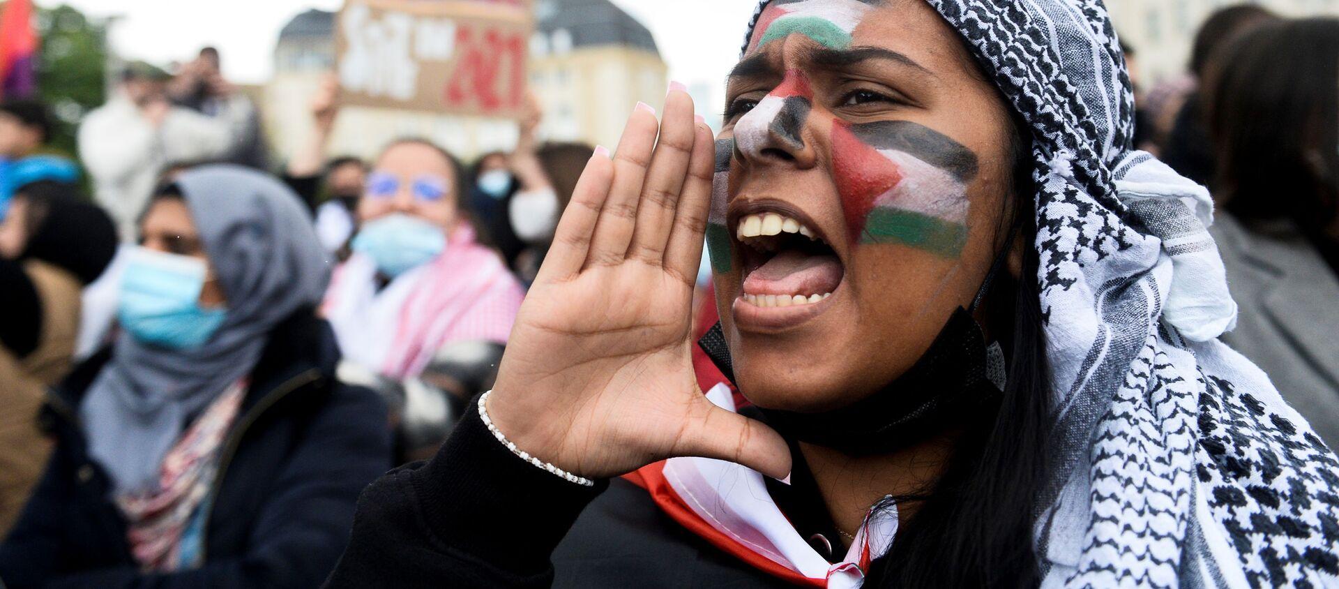Demonstracja zwolenników Palestyny w Belgii - Sputnik Polska, 1920, 19.05.2021