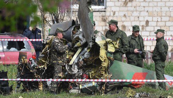 Katastrofa samolotu Jak-130 pod Baranowiczami w obwodzie brzeskim. - Sputnik Polska
