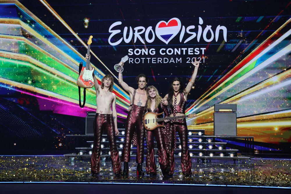 Włoski zespół Maneskin, zwycięzcy finału międzynarodowego konkursu Eurowizja 2021
