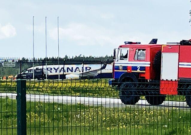 Samolot Ryanair w Mińsku