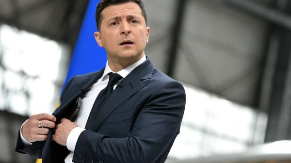 Prezydent Ukrainy Wołodymyr Zełenski na konferencji prasowej po dwóch latach urzędowania na stanowisku głowy państwa - Sputnik Polska