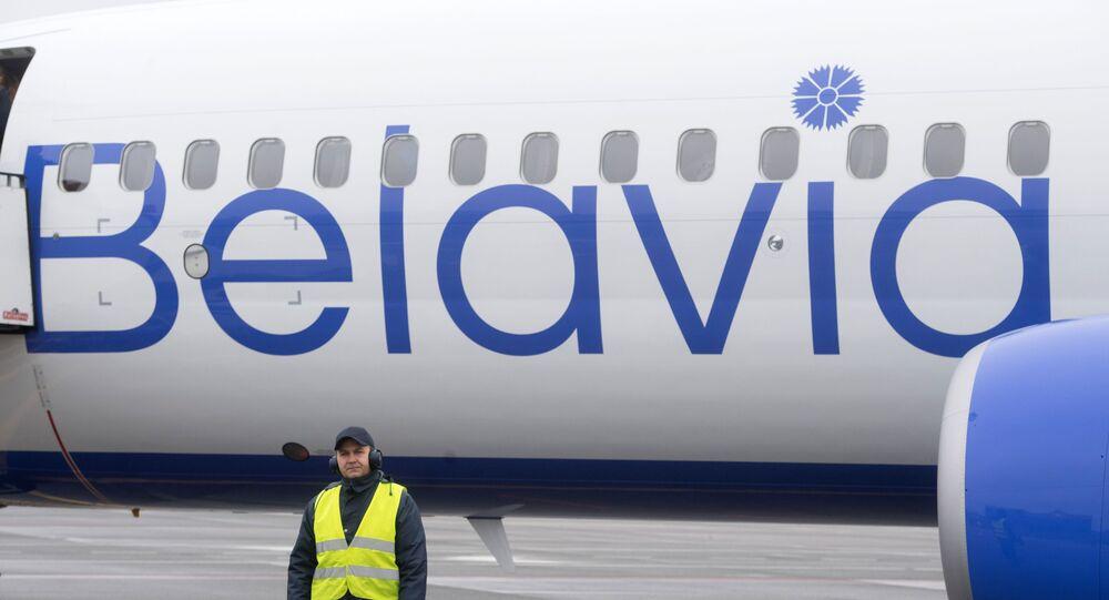 Samolot białoruskich linii lotniczych Belavia