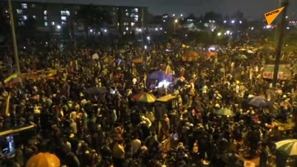 Płonące ulice Bogoty: Protesty przeciwko rządowi  - Sputnik Polska