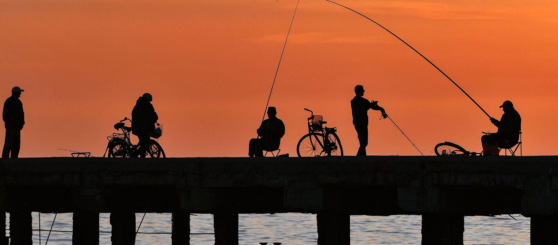 Rybacy na nabrzeżu w miejscowości wypoczynkowej Nowofedorowka na Krymie - Sputnik Polska, 1920, 01.06.2021