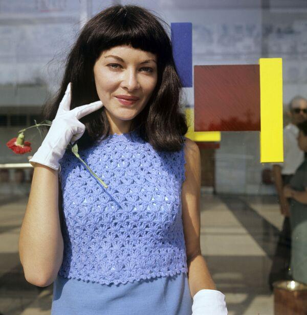 Aktorka Barbara Brylska podczas 5. Moskiewskiego Międzynarodowego Festiwalu Filmowego, 1967 rok  - Sputnik Polska