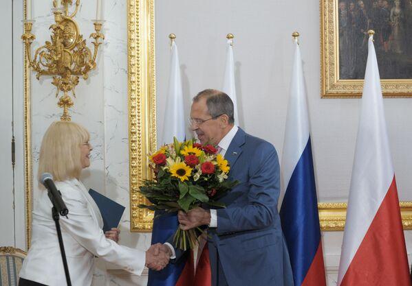 Rosyjski minister spraw zagranicznych Siergiej Ławrow i Barbara Brylska, 2010 rok  - Sputnik Polska