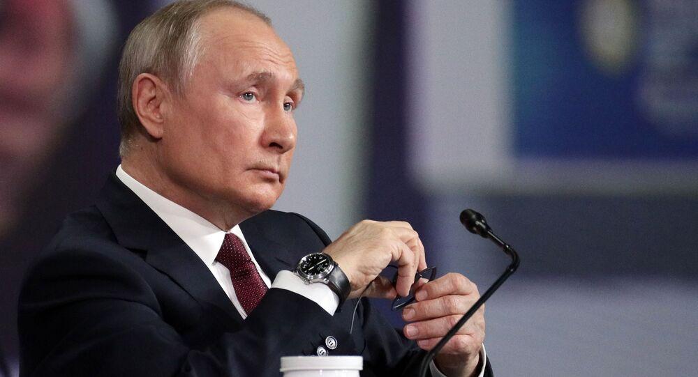 Prezydent Rosji Władimir Putin na Międzynarodowym Forum Ekonomicznym w Petersburgu, 5 czerwca 2021 r.