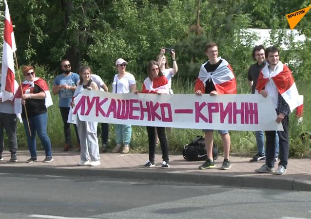 Białorusini mieszkający w Polsce protestują przy przejściu granicznym