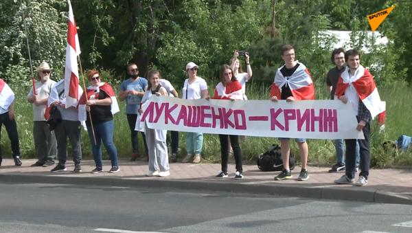 Białorusini mieszkający w Polsce protestują przy przejściu granicznym - Sputnik Polska