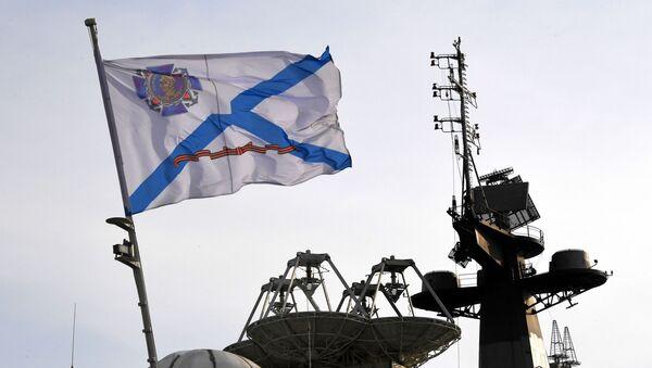 Bandera morska na pokładzie jednego z okrętów Floty Oceanu Spokojnego - Sputnik Polska