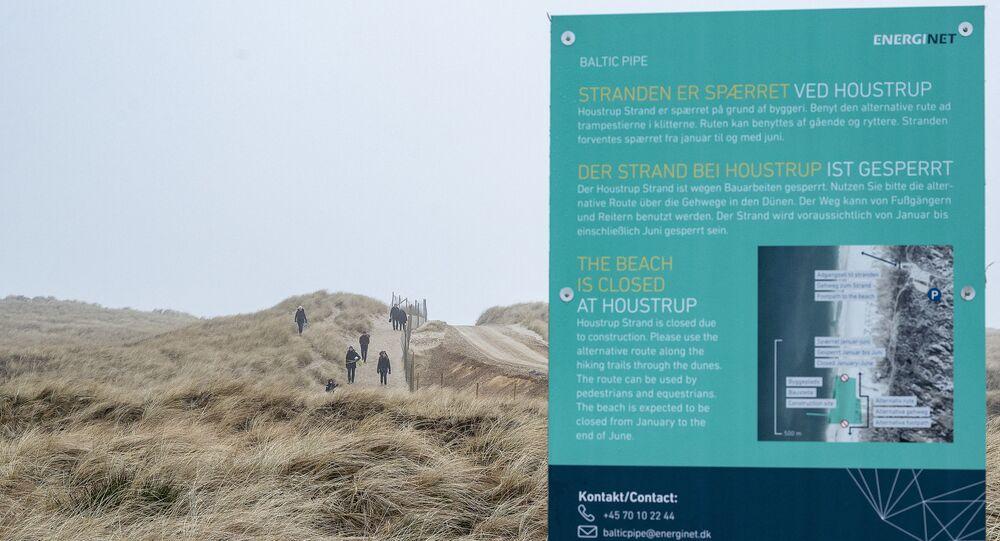 Tablica informacyjna Baltic Pipe w Danii.