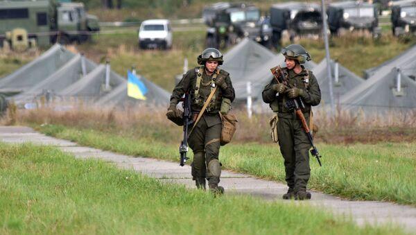 Ukraińscy żołnierze podczas wspólnych ćwiczeń wojskowych Rapid Trident-2020 Ukrainy i państw NATO. - Sputnik Polska