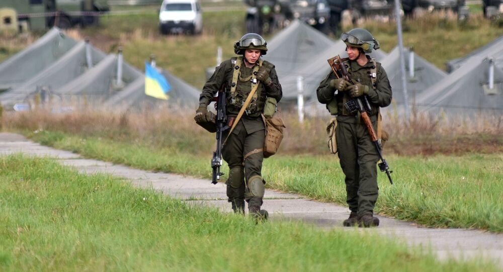Ukraińscy żołnierze podczas wspólnych ćwiczeń wojskowych Rapid Trident-2020 Ukrainy i państw NATO.