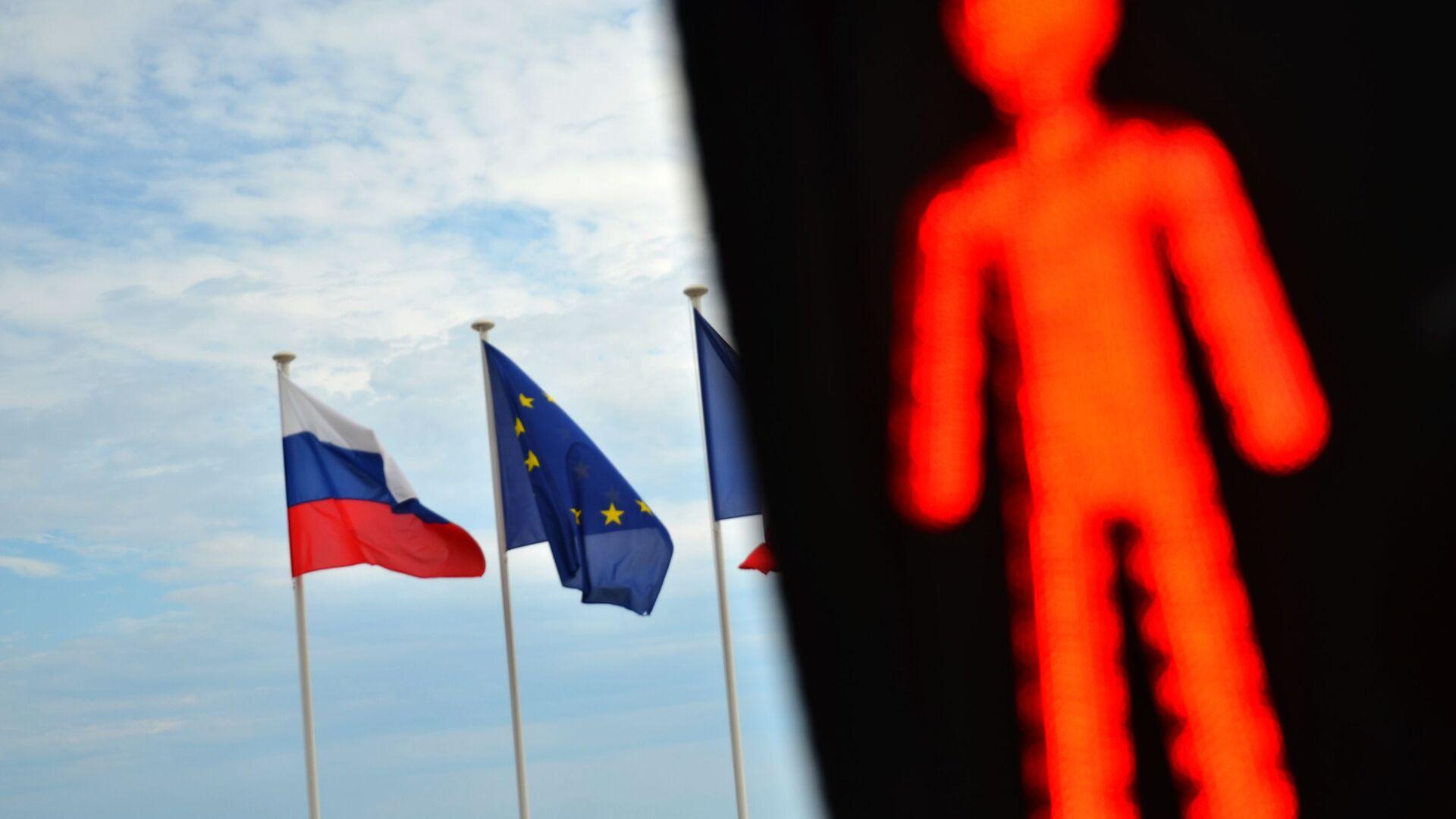Flagi Rosji, UE i Francji - Sputnik Polska, 1920, 21.06.2021