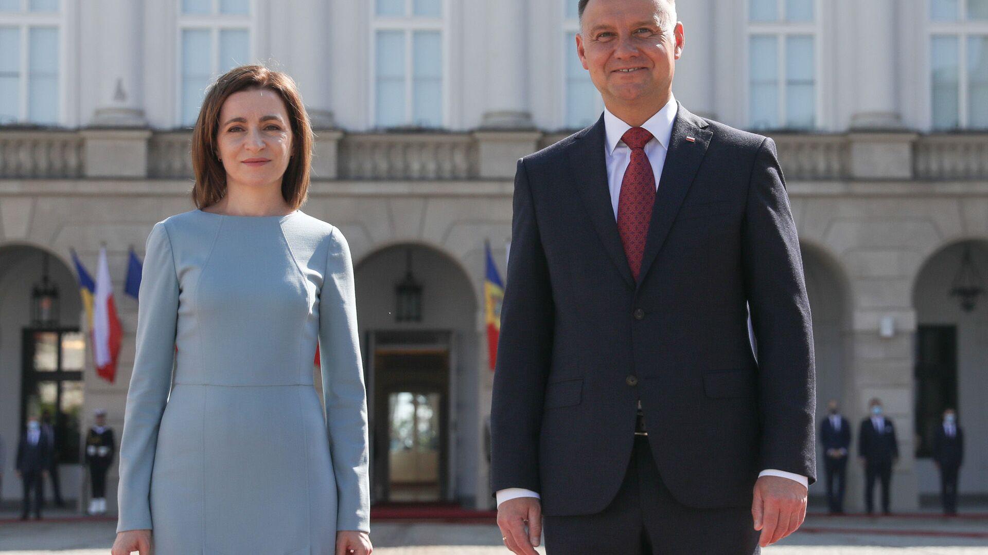 Prezydent Polski Andrzej Duda i prezydent Mołdawii Maia Sandu  - Sputnik Polska, 1920, 21.06.2021
