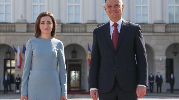 Prezydent Polski Andrzej Duda i prezydent Mołdawii Maia Sandu  - Sputnik Polska