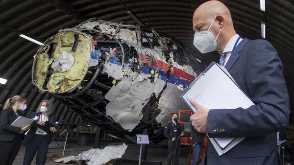 Председательствующий судья Хендрик Стинхейс осматривает обломки рейста MH17 авиакомпании Malaysia Airlines - Sputnik Polska