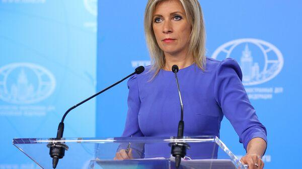 Официальный представитель Министерства иностранных дел России Мария Захарова во время брифинга в Москве  - Sputnik Polska