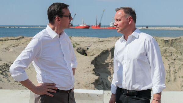 Президент Польши Анджей Дуда и премьер-министр Польши Матеуш Моравецкий на Вислинской косе - Sputnik Polska
