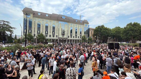 Участники акции протеста оппозиции в Тбилиси - Sputnik Polska