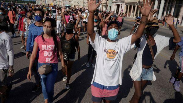 Антиправительственные протесты на Кубе  - Sputnik Polska