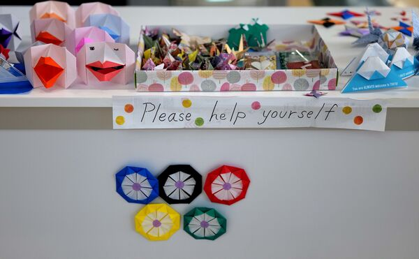 Figurki origami, zrobione przez wolontariuszy. - Sputnik Polska