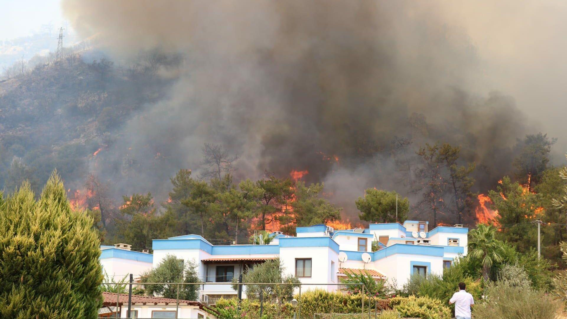 Ogień w pobliżu budynków mieszkalnych na wsi Türkevleri, w Bodrumie - Sputnik Polska, 1920, 03.08.2021