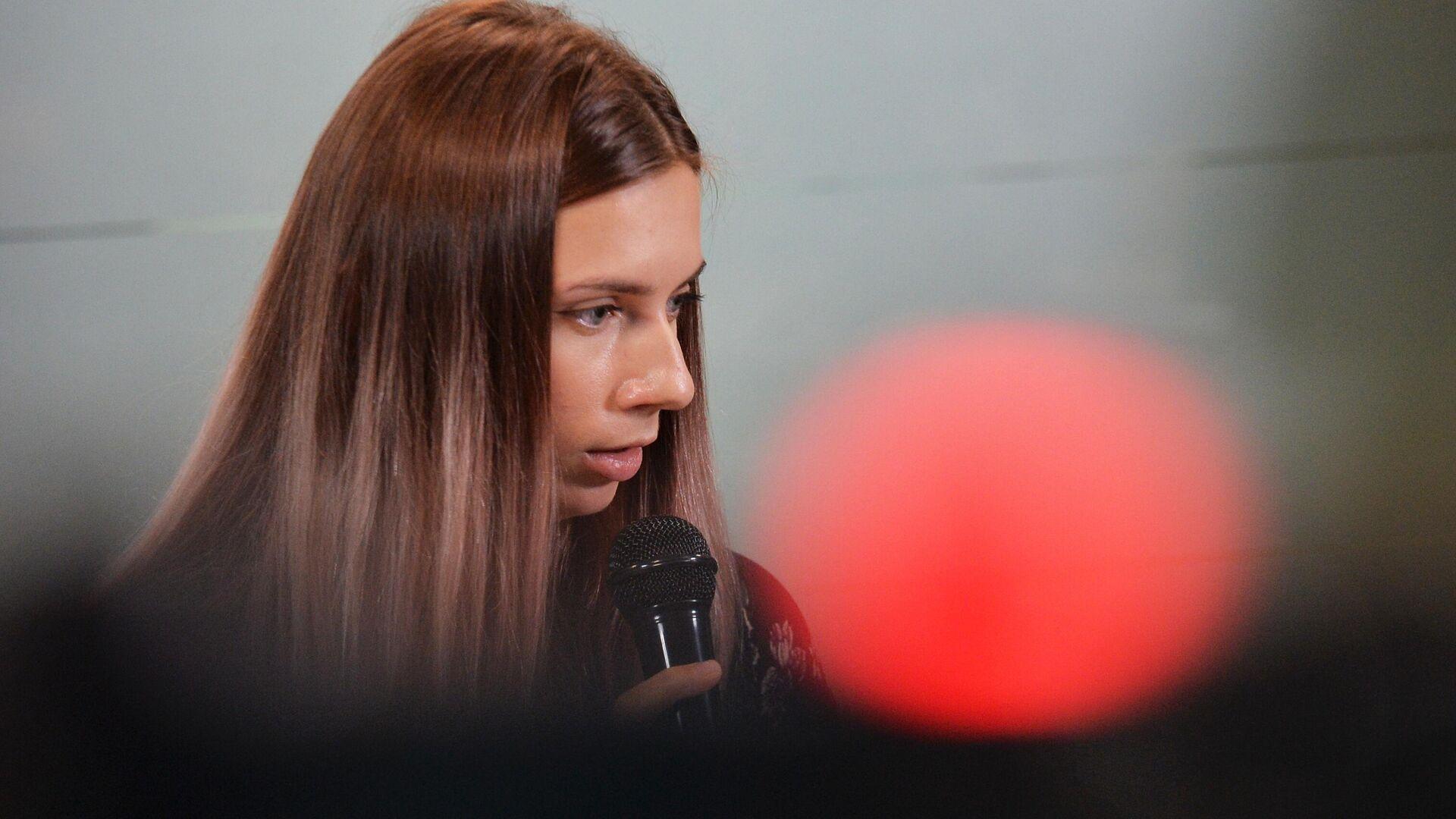 Chryscina Cimanouska podczas konferencji prasowej w Warszawie - Sputnik Polska, 1920, 09.08.2021