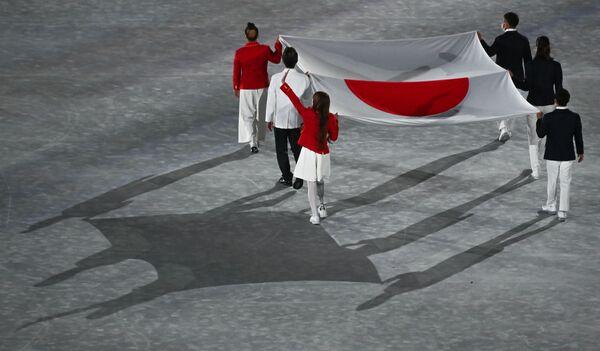 Flaga Japonii na ceremonii zamknięcia XXXII Letnich Igrzysk Olimpijskich w Tokio na Narodowym Stadionie Olimpijskim - Sputnik Polska
