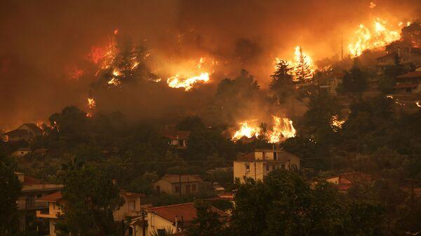 Природные пожары на острове Эвия, Греция - Sputnik Polska