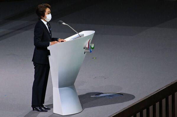 Seiko Hashimoto, przewodnicząca Komitetu Organizacyjnego igrzysk olimpijskich i paraolimpijskich w Tokio, przemawia na ceremonii otwarcia  - Sputnik Polska