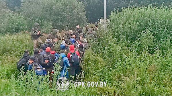 Нелегальные мигранты, задержанные при пересечении латвийско-белорусской границы  - Sputnik Polska