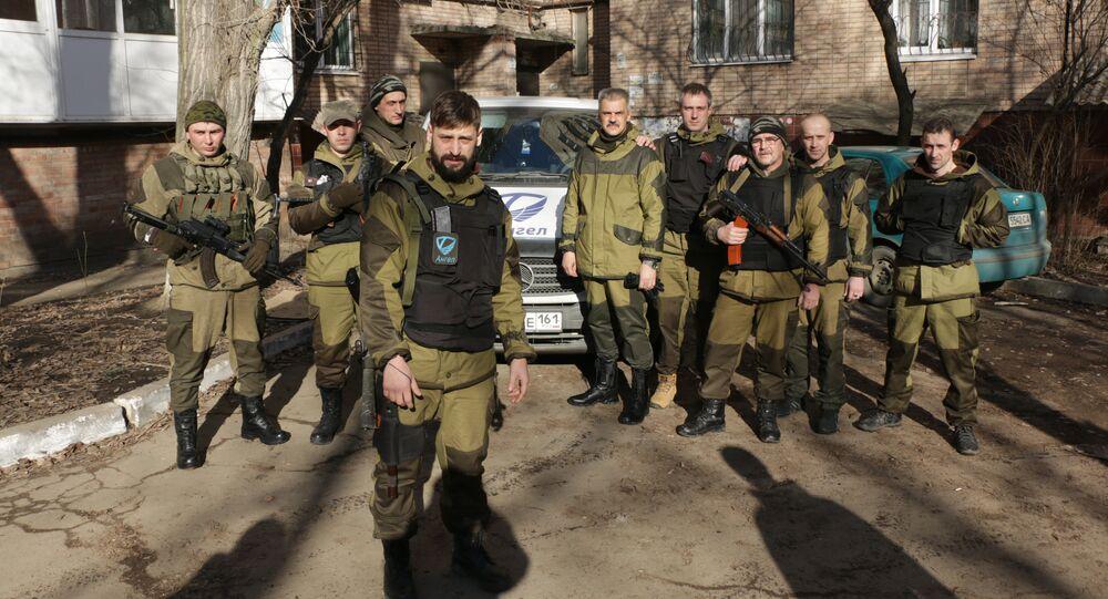 """Batalion """"Anioł"""" w Donbasie. W środku Aleksej Smirnow"""