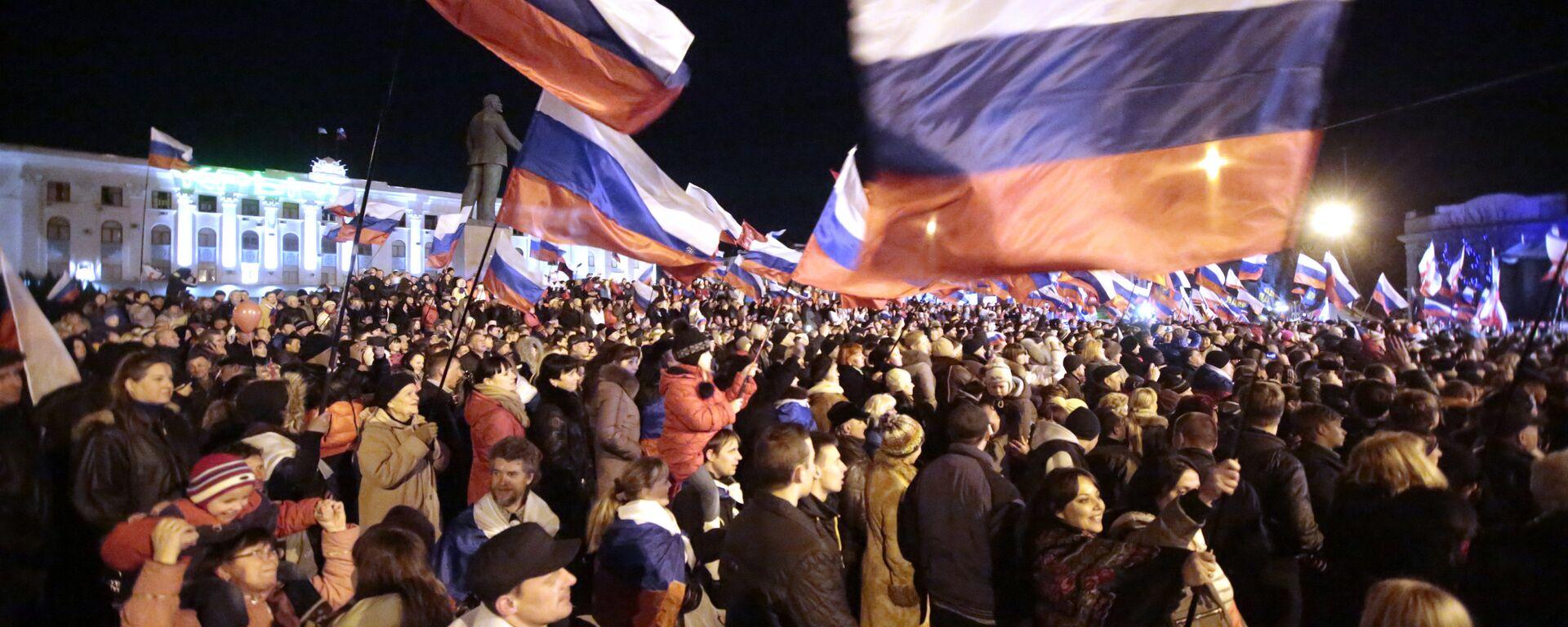 Koncert w centrum Symferopola na cześć referendum w sprawie statutu Krymu - Sputnik Polska, 1920, 17.03.2021