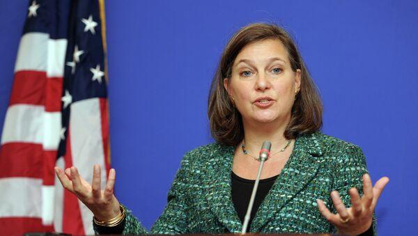 Asystentka sekretarza stanu ds. Europy i Eurazji Victoria Nuland podczas konferencji prasowej w Tbilisi - Sputnik Polska