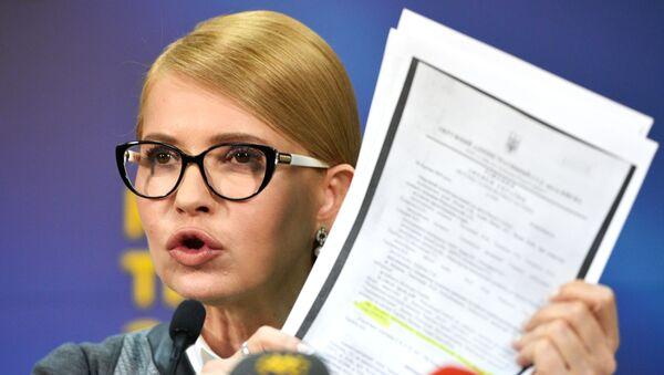 Lider partii Batkiwszczyna Julia Tymoszenko przemawia do wyborców w Kijowie - Sputnik Polska