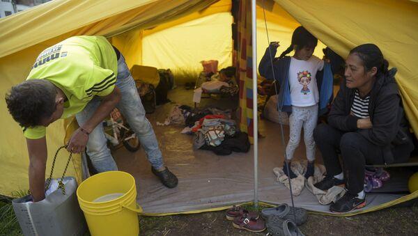 Wenezuelscy migranci w obozie dla uchodźców w Bogocie - Sputnik Polska