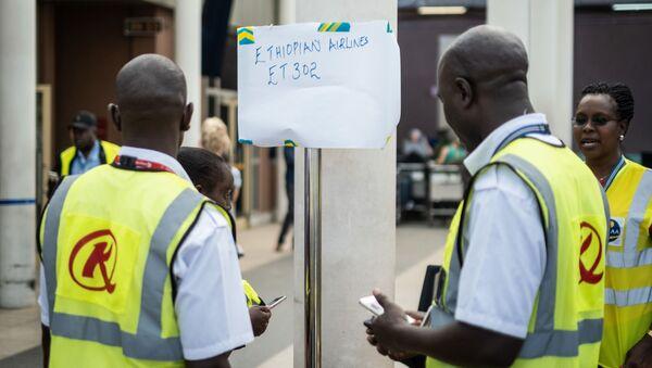 Stanowisko informacyjne o katastrofie lotniczej etiopskich linii lotniczych w Kenii - Sputnik Polska