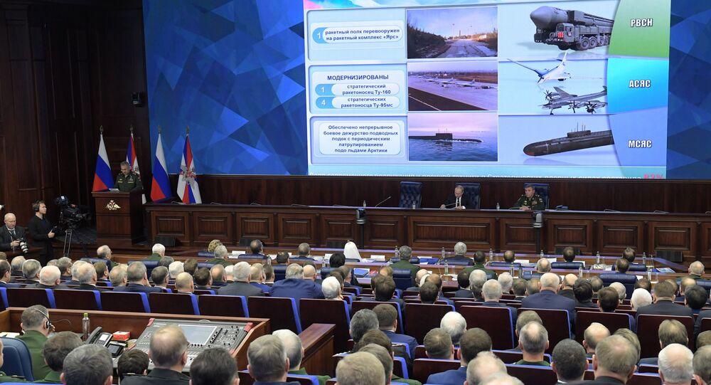 Prezydent Rosji Władimir Putin na rozszerzonym posiedzeniu kolegium Ministerstwa Obrony