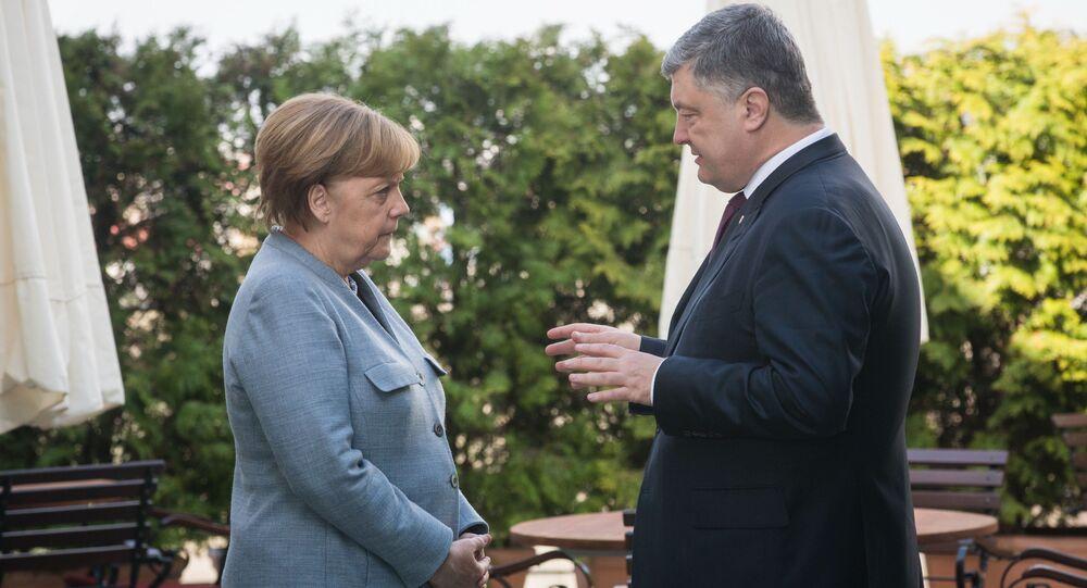 Kanclerz Niemiec Angela Merkel i prezydent Ukrainy Petro Poroszenko w Berlinie. Zdjęcie archiwalne