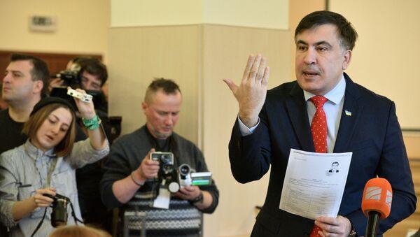 Były prezydent Gruzji, były gubernator regionu Odessy Michaił Saakaszwili na posiedzeniu Sądu Najwyższego Ukrainy - Sputnik Polska
