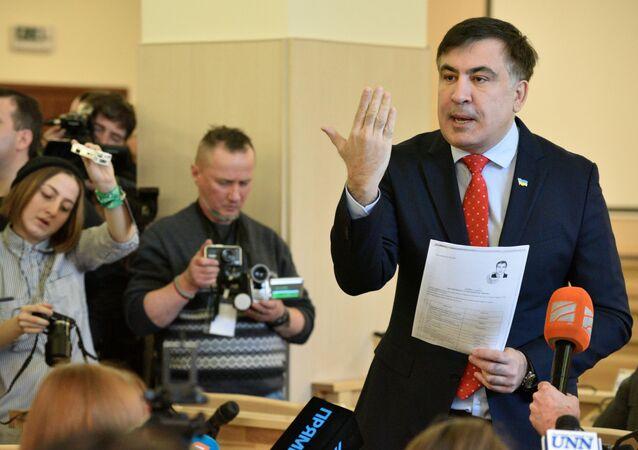 Były prezydent Gruzji, były gubernator regionu Odessy Michaił Saakaszwili na posiedzeniu Sądu Najwyższego Ukrainy