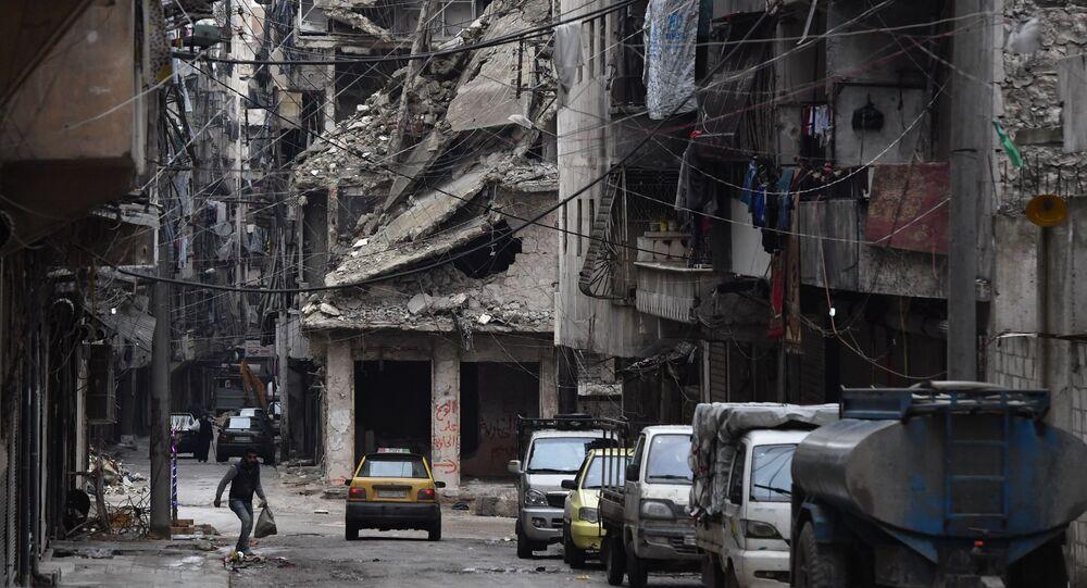 Zrujnowany rejon syryjskiego Aleppo