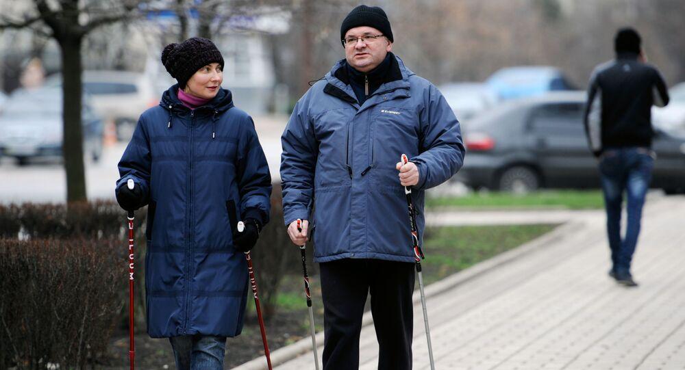 Ludzie na spacerze w Doniecku