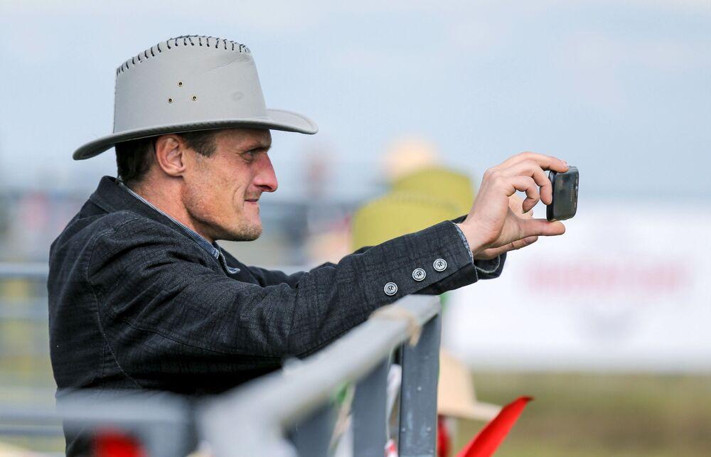 Uczestnik Rosyjskiego rodeo pod Briańskiem