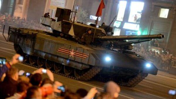 Czołg T-14 Armata podczas próby defilady wojskowej w Moskwie - Sputnik Polska